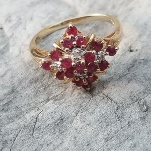 10k Stamped Gold Ruby Diamond Ring Size 6